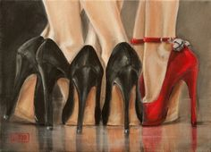 Jingle Bell Rock, Red Shoe Painting by Jacqui Faye, painting by artist jacqui faye
