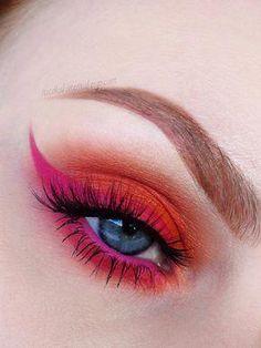 nicolakatemakeup: matte orange pink liner, winged eyeliner + colorful / bright / neon eye makeup #EyeMakeupCutCrease #EyeMakeupAmazing - #eyeliner #liner #matte #nicolakatemakeup #orange #winged - #Genel #EyeMakeupBlue Rosa Eyeliner, Liquid Eyeliner Best, Perfect Eyeliner, Winged Eyeliner, Color Eyeliner, Eyeliner Ideas, Eye Makeup Cut Crease, Pink Eye Makeup, Colorful Makeup