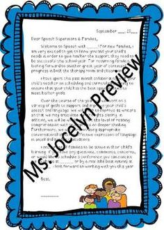 Welcome Letter - Speech Therapy