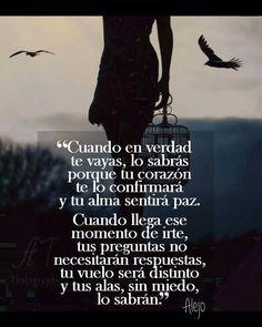 〽️ Cuando en verdad te vayas, lo sabrás porque tu corazón te lo confirmará y tu alma sentirá paz. Cuando llega ese momento de irte, tus preguntas no necesitarán respuestas, tu vuelo será distinto y tus alas, sin miedo, lo sabrán. Alejo