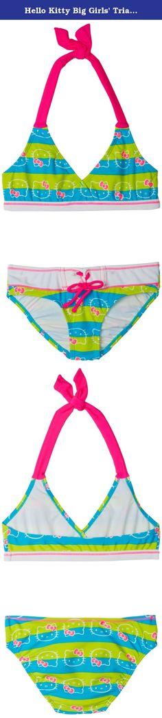 Hello Kitty Big Girls' Triangle Bikini Swimsuit Set, Turquoise/Lime, 10/12. 7-14 1 piece.