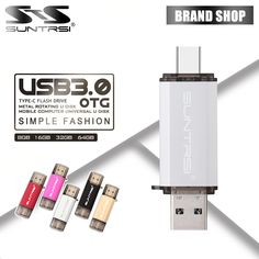 Suntrsi USB 3.0 Type-C 3.1 Pendrive 64GB Metal USB Flash Drive 64GB Custom Pen Drive USB Stick for Phones Micro USB Flash Type C