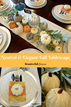 Neutral and Elegant fall tablescape - Beauteeful Living Dining Room Table Centerpieces, Christmas Table Centerpieces, Simple Dining Table, Home Design Diy, Consignment Furniture, Home Decor Pictures, Fall Diy, Fine Furniture, Decorating Your Home