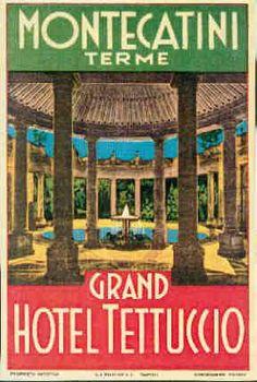Italy MINT Vintage Hotel luggage label Croce di Malta Montecatini Terme Tuscany