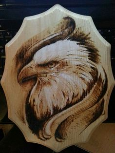 Made by David Nash Hand made burning picture. - Made by David Nash Hand made burning picture. Made by David Nash Hand made burning picture. Wood Burning Crafts, Wood Burning Patterns, Wood Burning Art, Wood Projects, Woodworking Projects, Eagle Art, Wooden Crafts, Diy Crafts, Pyrography