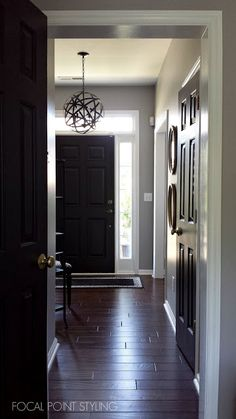 black doors and flooring