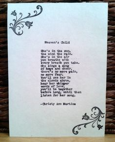 Sympathy Poem Heaven's Child Loss of Child by ChristyAnnMartine, $12.00