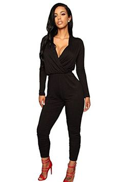 620f12686752e Pink Queen Womens Deep V Neck Long Sleeve Skinny Pants Jumpsuits Rompers  Fall Outfits