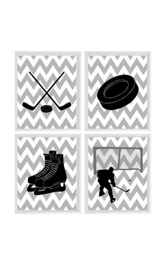 Hockey Wall Art Print - Chevron Gray Black Nursery Ice Hockey Art Art - Puck Stick Skates - Boy Man Room Dorm Sports Home Decor - 4 8x10 on Etsy, $50.00