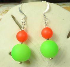 Neon earrings green and orange earrings dangle by beadwizzard