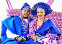 Nigerian Yoruba bride and groom in traditional wedding attire