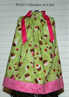 Cubcakes on Lime Boutique Pillowcase dress by GiraffesJellybeans, $19.99