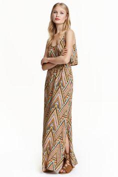 Vestido largo estampado   H&M