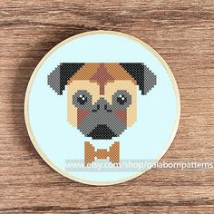 Pug  PDF counted cross stitch pattern  Dog door galabornpatterns