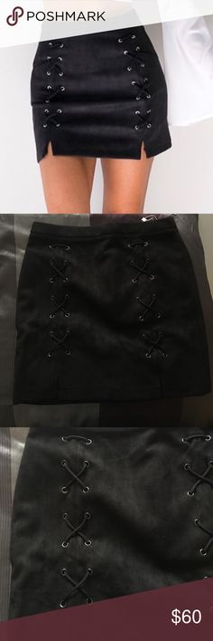 NWT BLACK SKIRT!!!! NWT BLACK SKIRT. Velour material, size medium. Zip up in the back, lace x's on the front as seen. Never been worn, not my size. Super cute!!! Simplee Apparel Skirts