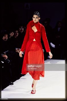 Model walks Comme des Garcons' RTW (pret a porter) Spring 1997 Runway collection, (Bumps Collection) designed by Rei Kawakubo.