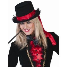 Chapeau amazone haut de forme noir ruban rouge femme, Halloween