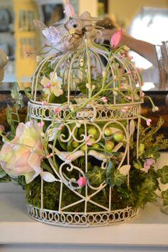 Shabby Chic Bird cage arrangement, Spring Bird Cage Arrangement, Victorian Decoration on Etsy, $55.00