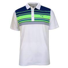 f227b0e15a3ea Puma Mens Key Stripe Polo- White Blue Green - with Free Delivery