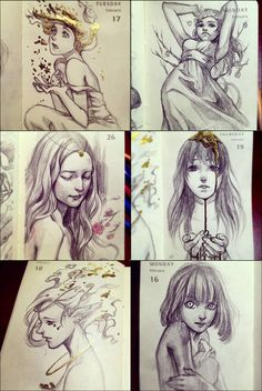 More daily-sketch dump. Reference used for the middle left, using one of zemotion's photographs for practice.  used a variety of graphite pencils and gold ink on 2 x 4 sketchbook/moleskine. I ...