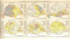 1896 Distribution of Major Religions in Hungary Antique Map