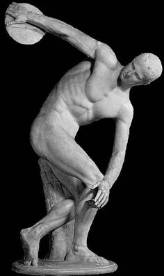 Discobolos a classical roman sculpture and the key example to idealised male form Ancient Greek Sculpture, Ancient Greek Art, Greek Statues, Ancient Greece, Discus Thrower, Classical Period, Greek Design, Roman Sculpture, Social Art