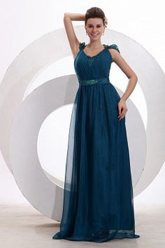 V-Neck Classic Blue Evening Dress - Order Link: http://www.theweddingdresses.com/v-neck-classic-blue-evening-dress-twdn2361.html - Embellishments: Beading , Draped , Lace , ; Length: Floor Length; Fabric: Chiffon; Waist: Natural - Price: 83.06USD