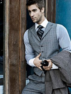 love the matching vest with white collar and cuffs on shirt (Luke Guldan)