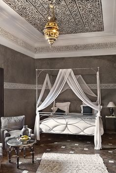 Beautiful Moroccan bedroom with a hand sculpted plaster ceiling, a beautiful Mor. Lanterns decor living rooms home decor bedroom interiors lanterns style tiles rooms Dream Bedroom, Home Bedroom, Master Bedroom, Bedroom Ceiling, Pretty Bedroom, Bedroom Ideas, Moroccan Design, Moroccan Decor, Moroccan Lanterns