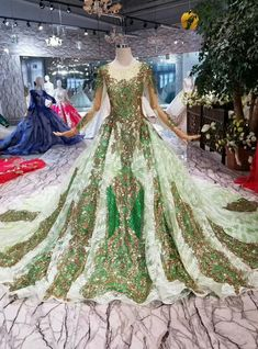 Green Ball Gown Tulle Sequins Long Sleeve Wedding Dress With Train Long Sleeve Wedding, Wedding Dress Sleeves, Beautiful Bridal Dresses, Nice Dresses, Colored Wedding Dresses, Dream Wedding Dresses, Masquerade Dresses, Fantasy Dress, Ball Gown Dresses
