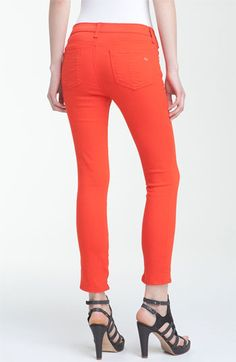 rag & bone Zip Detail Stretch Capris Womens Bright Orange