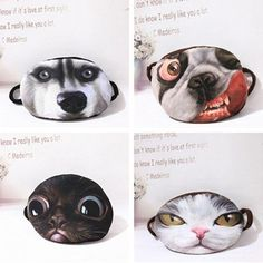Cartoon Mouth Face Mask 3D Anti Dust Cotton Unisex Winter Cat Funny Cycling Wear #CartoonMouth #Mouth #Everyday