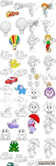 Развивающие раскраски по точкам для детей - векторные иллюстрации   Vector illustration Coloring and dot to dot game for kids