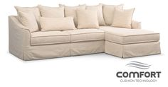 Brooke Comfort 2-Piece Sectional With Right-Facing Chaise - Ivory