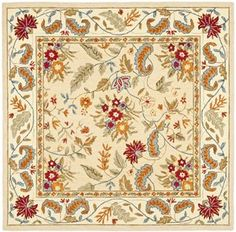 Safavieh Chelsea Square Wool Hand Tufted Botanical Flowers Area Rug Ivory Home Decor Rugs Area Rugs Floral Area Rugs, Yellow Area Rugs, Wool Area Rugs, Wool Rug, Contemporary Rugs, Carpet Runner, Floor Rugs, Colorful Rugs, Rug Size