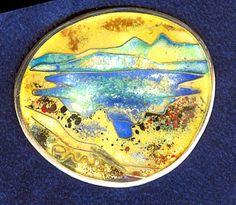 """""""Kleiner Alpsee"""", Silber Cloisonné, geschliffen, ca 4 x 4 cm"""