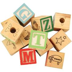 Colourful Wooden ABC Blocks - Large - Pack of 12