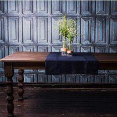 Burlap Linen Table Runner. Many Colors Available. Navy Blue Natural Linen Runner. Handmade Custom Linen Table Top