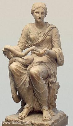 Hygeia (Good Health personified) sits feeding a serpent from a bowl. Date: C1st AD. Period: Imperial Roman. Marble. Height: 0.87 cm Museum Collection: State Hermitage Museum, St Petersburg, Russia