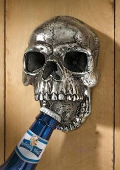 You can tout your nautical taste and fierce hosting skills by docking the cooler of drinks below this Gothic Skeleton bottle opener. Availabl...