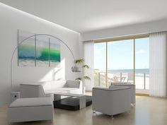 minimalist living room with beautiful views...I'd have to say no to the lamp.