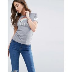 Hollister Logo Rainbow Burnout T-Shirt with White Stripe Sleeves (£20) ❤ liked on Polyvore featuring tops, t-shirts, grey, print t shirts, white crew t shirt, white t shirt, rainbow t shirt and logo t shirts