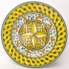 "Tuscan Montelupo 17"" Round Serving Platter with geometric design"