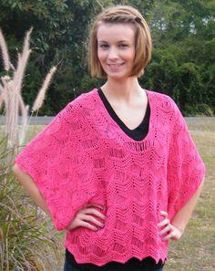 Rosaline Kimono Tunic. Free intermediate-level pattern worked in light DK.