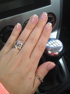 Pink sparkle fade gel nails