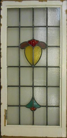 "LARGE OLD ENGLISH LEADED STAINED GLASS WINDOW Nice Abstract Drop 20.25"" x 41.75"""