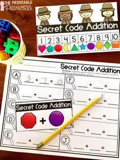 Kindergarten Detective / Secret Code Theme Centers for Math and Literacy Activities - Use this 47 page resource with your Kindergarten classroom or homeschool students. You get secret code real / nonsense words, secret phrases, word families, secret code addition, secret code subtraction, and shapes.  The added no prep practice pages are great for literacy centers, math stations, activities, extra practice, review, and much more! Great for remediation, homework, or as an additional center…