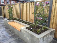 Stucco tub / bench design sven fly gardens hov … – - All For Garden Outdoor Garden Bench, Backyard Seating, Backyard Garden Design, Small Garden Design, Garden Seating, Garden Planters, Backyard Patio, Backyard Landscaping, Outdoor Gardens