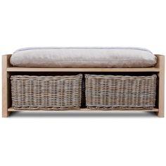 Garden Trading Oxford Storage Bench - Oak with Rattan Baskets