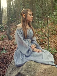 RESERVED Elven fairytale dress in grey blue silk by CostureroReal